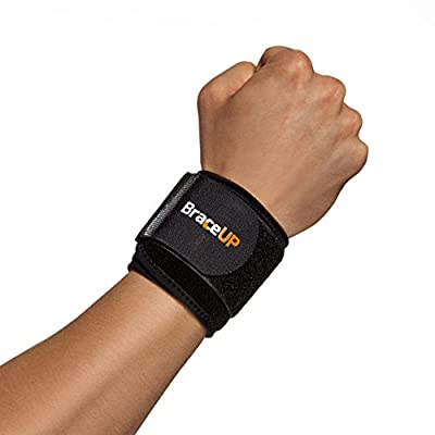 BraceUP® Wrist Compression Strap and Support, One Size Adjustable (Black), 1 PC
