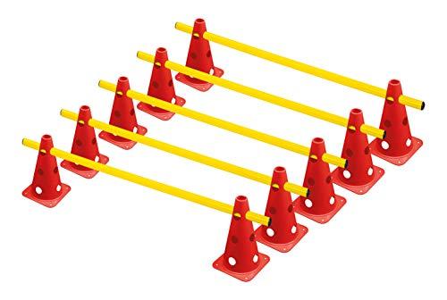 RHINOS sports Steckhürdenset, 10 Multifunktionskegel (22,5 cm) inkl. 5 Trainingsstangen (1 m)