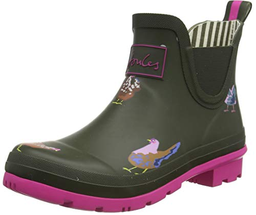 Joules Women's Wellington Welly Boot, Khaki Chickens, us-0 / asia size s