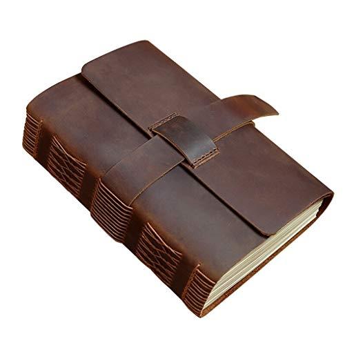 Diario de oficina diario en blanco, cuaderno de notas, cuaderno de viaje de cuero genuino grueso cubierta de cuero de vacuno, cuadernos retro (tamaño: S)