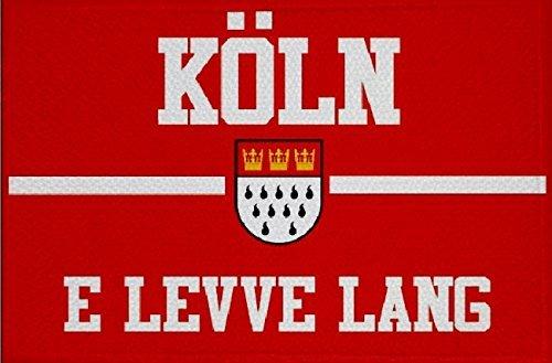 U24 Aufnäher Köln e leve lang rot Fahne Flagge Aufbügler Patch 9 x 6 cm