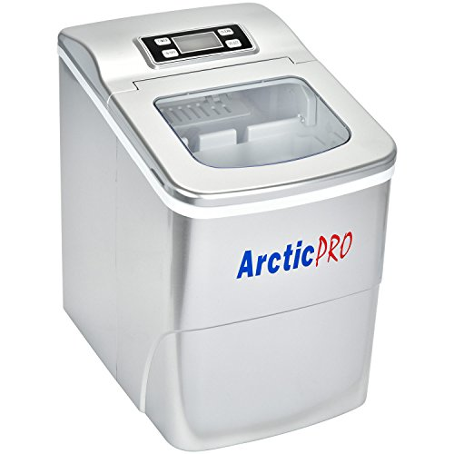 PORTABLE DIGITAL ICE MAKER MACHINE by Arctic-Pro with Ice Scoop, First Ice in 6-8 Minutes, 26 Pounds Daily, Great for Kitchens, Tailgating, Bars, Party, Small/Large Cubes, Silver, 11.5x8.7x12.5 Inch