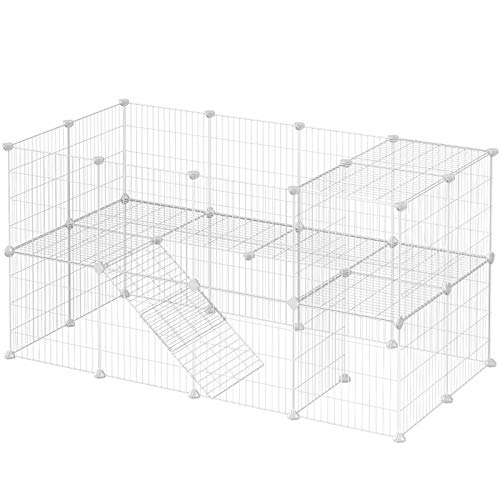 SONGMICS Pet Playpen Includes Cable Ties, Metal Wire Apartment-Style Two-Storey Bunny Fence and Kennel, Comfortable Pet Premium Villa for Guinea Pigs Rabbits Puppies, Indoor Use, White ULPI02W