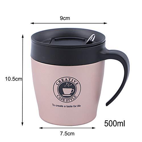 YOUZHA geïsoleerde koffiemok van roestvrij staal 500 ml met lepeldeksel, citroensap, kerstmok, drankproduct voor thee, thermobeker