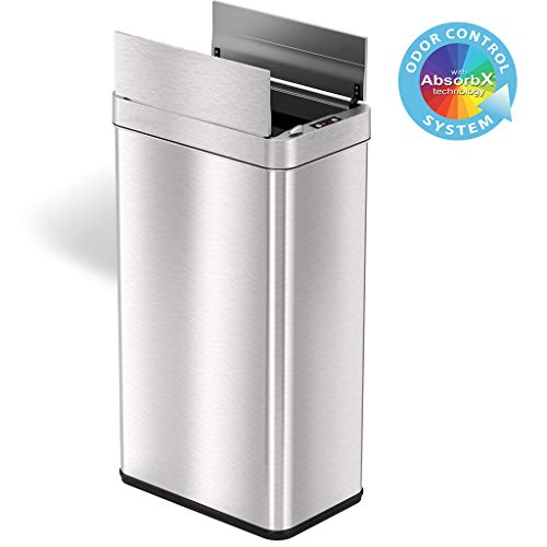 iTouchless 18 Gallon Wings Open Lid Sensor Trash Can with AbsorbX Odor Filter & PetGuard, 68 Liter Automatic Stainless Steel Kitchen Garbage Bin for Under the Counter & Tight Space