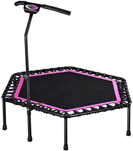 LAMTON Mini Rebounder Trampoline Exercise Indoor Fitness Rebounder with Adjustable Handle Bar for Kids - Best Urban Cardio Workout Home Trainer– Max Limit 330 lbs (Color : Pink)