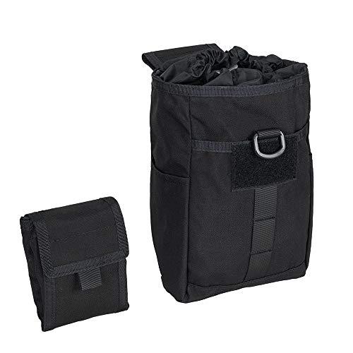 EXCELLENT ELITE SPANKER Molle Dump Pouch Drawstring Magazine Utility Pouch Folding Dump Pouch Waist Bag(Black)