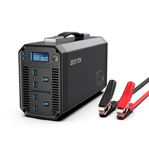 BESTEK 1200W 12V Car Inverter, DC 12V to AC 230V Power Converter with 2 UK Outlets, 2 USB Ports and...