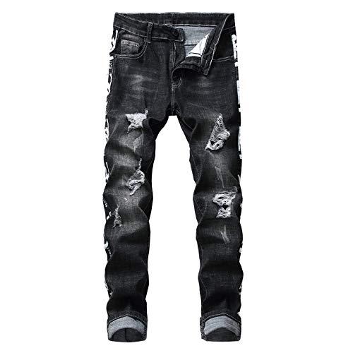 CFWL Jeans Rectos Estiramiento Tendencia De La Moda Pantalones Rasgados Pantalones Delgados...