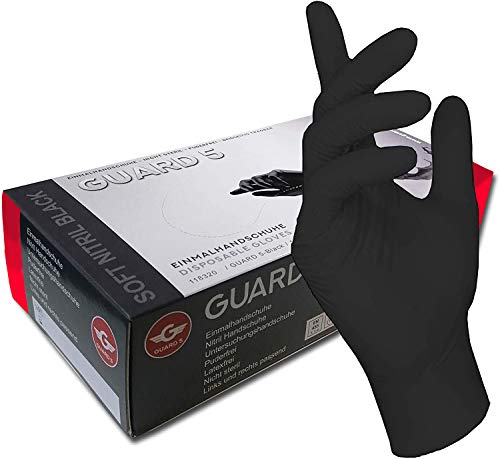 200 Stck - Einweghandschuhe von GUARD 5 - Schwarze Nitril-Handschuhe puderfreie Tätowierhandschuhe Kochhandschuhe (7 / S)
