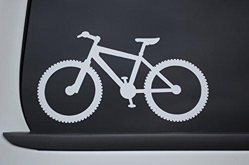 MTB Mountain Biking Sticker Vinyl Decal CHOOSE COLOR & SIZE!! MTN Bike Car Window Laptop (V538) (4' X 2.25', White)