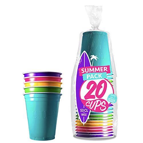 Pack de x20 Original Summer Cups Officiels | Gobelets Américains 53cl Multicolores | Beer Pong Qualité Premium | Gobelets Plastique Réutilisables | Lavables Main ou Lave-Vaisselle | OriginalCup®