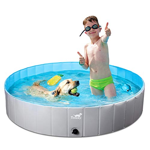 Toozey Foldable Dog Pool, Portable PVC Pet Swimming Pool, Slip-Resistant Material Kiddie Pool, Dog Pet Bath Pool for Small to Large Dogs