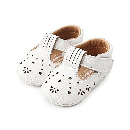 LACOFIA Scarpe Primi Passi Bambina Ciabatte Scarpe neonata in Morbida Pelle Antiscivolo Bianco 3-6 Mesi