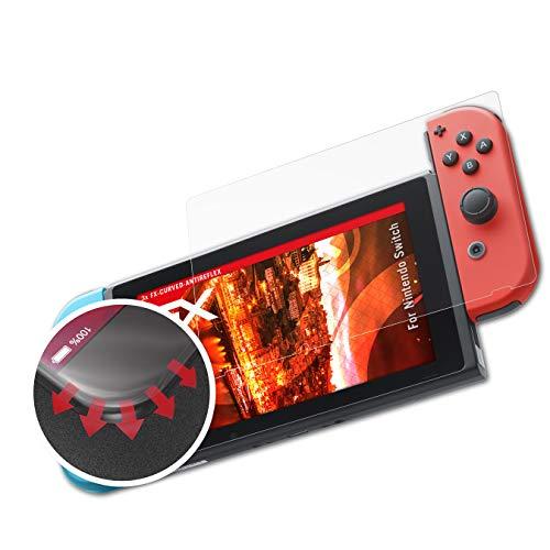 atFoliX Schutzfolie kompatibel mit Nintendo Switch Folie, entspiegelnde und flexible FX Displayschutzfolie (3X)
