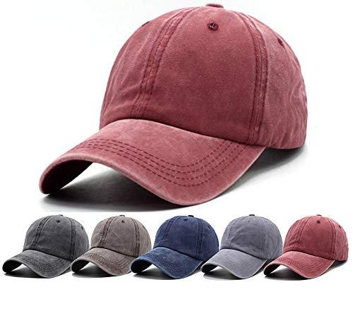 Unisex Vintage Hats for Women Baseball Caps for Men Adjustable Baseball Hats Dad Hats, Red