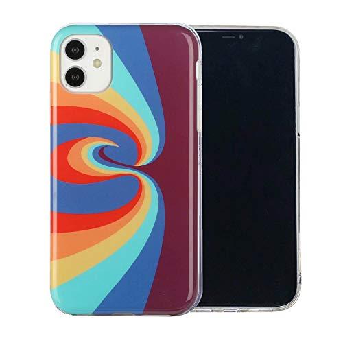 Miagon Bunt Kunst Regenbogen Hülle für iPhone 12,Ultra Dünn Silikon TPU Schutzhülle Handyhülle Weiche Stoßfest Anti-Scratch Cover,Strudel