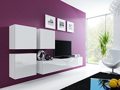 Furniture24 Wohnwand VIGO 23, Desing Mediawand, Modernes Anbauwand mit 3 Türen und 2 Klaptüren, Hängeschrank Tv Lowboard (Weiß/Weiß Hochglanz)
