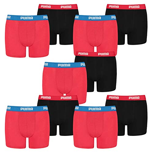 PUMA 10 er Pack Boxer Boxershorts Jungen Kinder Unterhose Unterwäsche, Farbe:786 - Red/Black, Bekleidung:176