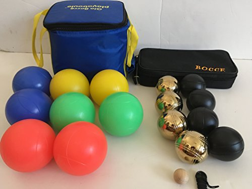 Glow in Dark Bocce Set and 73mm Metal Bocce/Petanque 8 Ball Set with 4 gold and 4 black balls and black bag