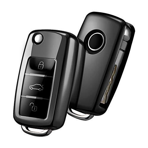 Funda para Llave DE para Coche VW VW Polo Golf 6 Skoda Seat - 2-3 Botones Carcasa [Suave] de [TPU] para Llaves - Cover de Mando y Control de Auto en (Negro)