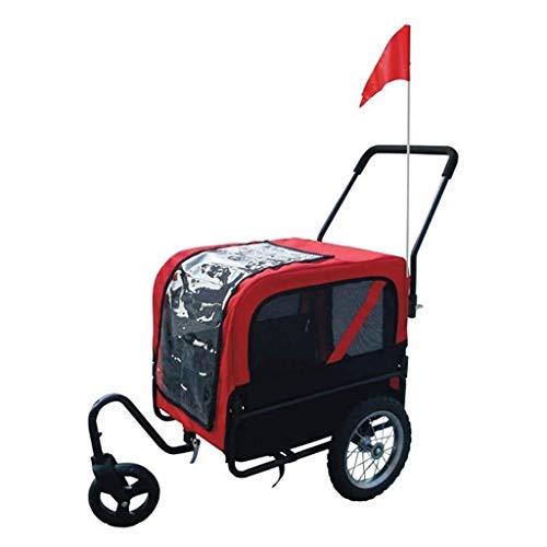 2-in-1 Hond Pet fietsaanhanger Doggie Kitten fietsdrager - for Outdoor Reizen Jogging Cycline, Red (Color : Red)