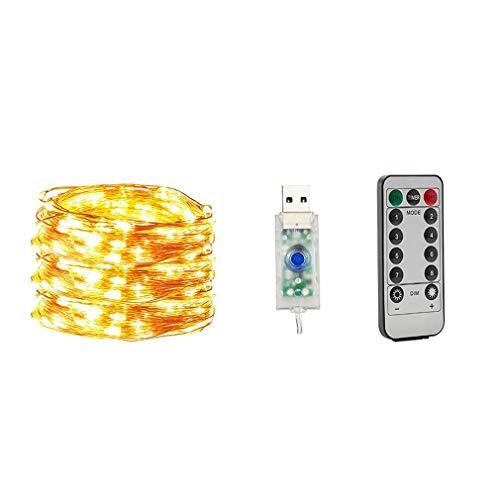 HehiFRlark - Cadena de alambre de cobre USB, luces de Navidad, luces de Navidad, luces LED, alambre de cobre, guirnalda de luces prácticas luces blancas cálidas, 10 m, 100 luces