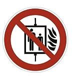 Aufkleber Aufzug im Brandfall nicht benutzen 20cm Ø Folie gemäß ISO 7010, P020