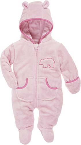 Schnizler Baby Fleece-Overall, atmungsaktiver Unisex-Jumpsuit für Jungen und Mädchen mit langem Reißverschluss und Kapuze, mit Bär-Stickung, Rosa (Rosa 14), 56