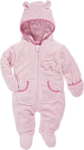 Schnizler Baby Fleece-Overall, atmungsaktiver Unisex-Jumpsuit für Jungen und Mädchen mit langem Reißverschluss und Kapuze, mit Bär-Stickung