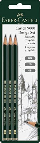Faber-Castell 119097 Bleistift 9000 Design Set, 3 Stück, Härtegrad HB, 2B und 4B