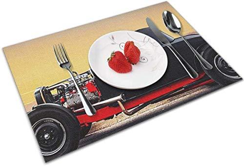 IMERIOi Tierabzeichen Tischsets für Esstisch Set aus 4 Stück waschbarem Polyester 12x18 aus gewebten Vinyl Tischsets Hitzebeständig für Küchen Esstischdekorationen Matten shuhu17811