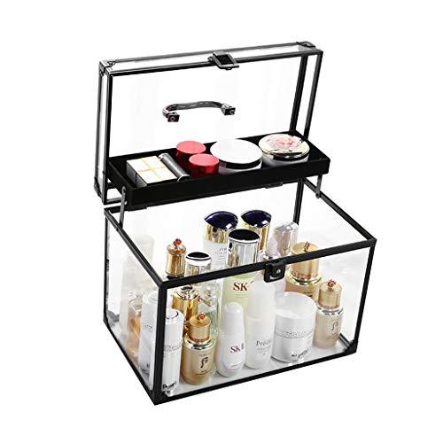 Boîte de rangement cosmétique Boîte de Rangement de boîte de Rangement de Support de Table en Acrylique résistant à la poussière (Color : Black, Size : 32 * 20 * 24cm)