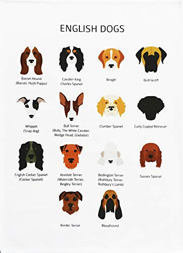Half a Donkey English Dogs -Large Cotton Tea Towel