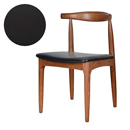 Chaise De Salle À Manger en Bois Massif Chaise De Table De Bureau Hippo Chaise De Réception avec Dossier en Bois Épais - Coussin Noir en PU Fauteuils Cabriolets