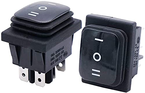Taiss /2 unids interruptor basculante impermeable negro 16A 250V 20A 125V AC 6 pines 3 posiciones ON/OFF/ON DPST KCD4-203N-BK