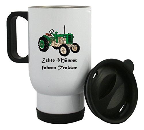 """Thermobecher aus Edelstahl mit Motiv \"""" Echte Männer fahren Traktor\"""" auch mit Kundenwunsch bedrucken, Kaffeebecher, Edelstahlbecher"""