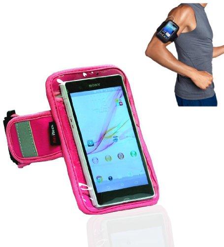 Navitech pinkes wasserfestes Neopren Fitness/Joggen/Lauf Armband mit Reflectorstreifen (Samsung Galaxy S2/ Samsung Galaxy Beam/ Samsung Galaxy Nexus/ Samsung Galaxy S Advance)