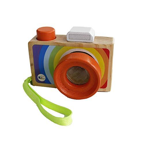 Gobus Cartoon Mini Holz Kamera Spielzeug mit Multi-Prisma Kaleidoskop Bilder Objektiv Tragbare Kamera für Kinder Kleinkinder (Tragen in der Hand)