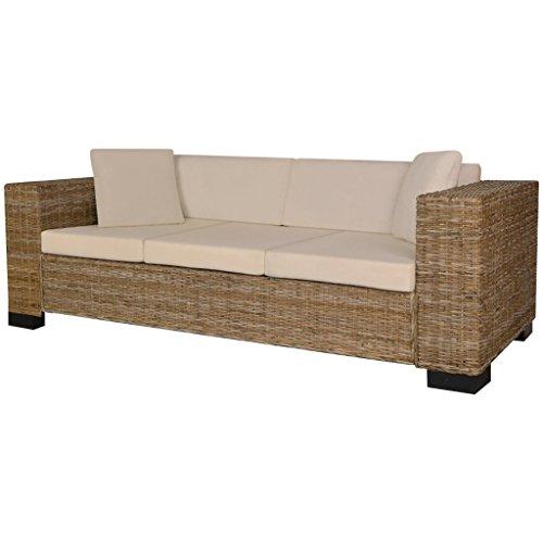 Festnight 8-TLG. Sofa Set 3-Sitzer-Sofa aus Echt Rattan Rattansofa Couch Loungesofa Wohnzimmersofa