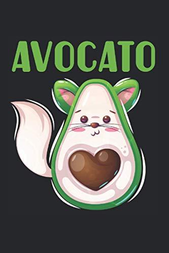 Avocato: Süße Avocado Katze Katze Feline Veggie Liebhaberin Vegan Kitty Notizbuch DIN A5 120 Seiten für Notizen Zeichnungen Formeln | Organizer Schreibheft Planer Tagebuch