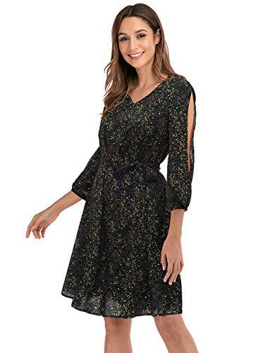 Gardenwed Robe de Plage Femme Ete 2021 Chic Mode Rétro Décontractée Robes Casual Manches Longue Mini Black Little Flower XL