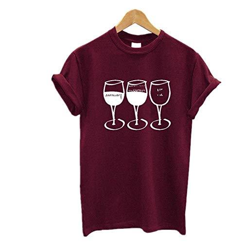 Copa de vino impresión camiseta de las mujeres de manga corta O cuello suelto mujeres camiseta de verano camiseta Tops ropa - marrón - X-Large