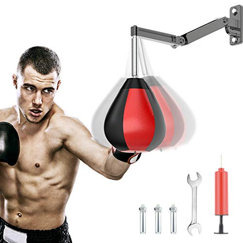 Boxing Speed Bag Punching Bag with Wall-Mount, Boxing Equipment for Training, Home Workouts with Adjustable Height, Strong Durable with Stand for Men Women Kids
