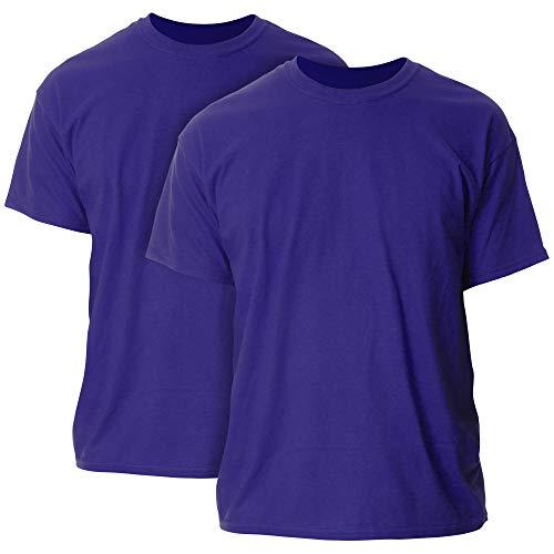 Gildan Men's Heavy Cotton Adult T-Shirt, 2-Pack, Purple, 3X-Large