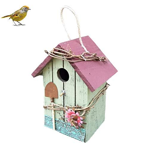 Vssictor 7,8 pulgadas Wood Bird House pintada a mano, retro, artesanía rústica, casa de pájaros, casa del bosque, decoración para ventanas exteriores, jardín, nido de pájaros, patio decoración