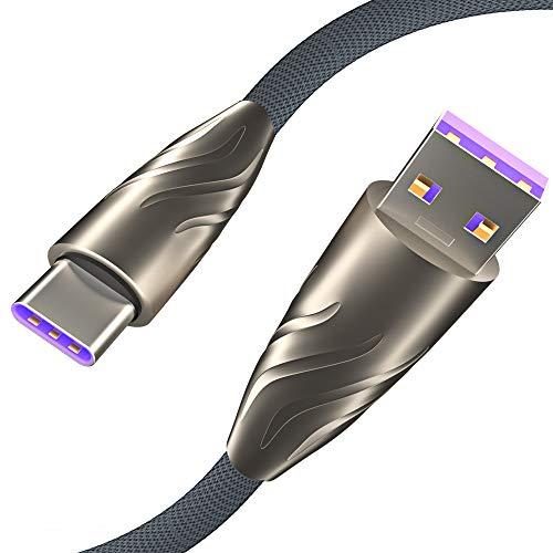Cable USB C de 5 A, 100 W, paquete de 2 (7.5 pies+3.3 pies) USB A a USB-C cargador rápido compatible con Samsung Galaxy S10, S9, S9, S8, Huawei P20 P30 Mate 20 Lite Pro LG y más