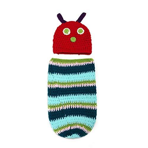 Mariisay Mignon Caterpillar Art Infantile Nouveau Né Chic Casual Bébé À La Main Crochet Bonnet Chapeau Couverture Sac De Couchage Photographie Accessoires Multicolore (Color : Colour, Size : Size)