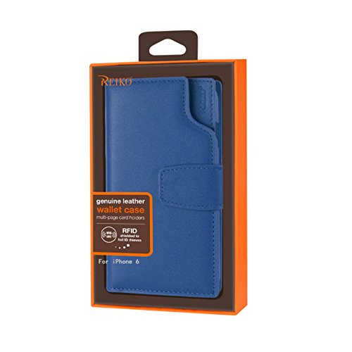 Reiko Wireless Genuine Leather Flip Wallet Case with Multi-Page Car Holders & RFID Shielded Card Slots for iPhone 6/ 6S 4.7'' - Ultramarine