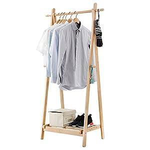 LANGRIA Perchero de Pie Plegable de Bambú con 4 Ganchos Laterales y para Secar la Ropa Estante Inferior con Espacio Extra para Zapatos Diseño Forma de A, Color Natural de Bambú